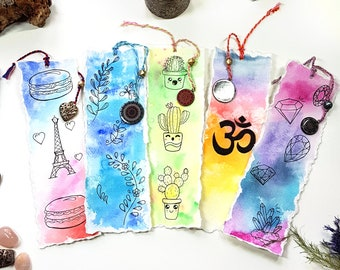 5 ORIGINAL Watercolor Bookmarks - unique painting, original artwork, books, flowers, illustration, drawing, cactus, Paris, Fleurdoodles