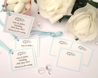 Personalised Wedding Gift Tags - Light Blue - Pack of 10 tags