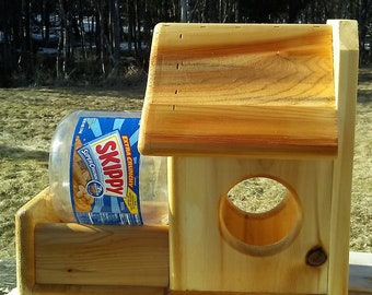 New designed, high quality handmade jar squirrel feeder,  Cedar wood, TBNUP