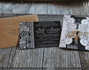 Halloween Wedding Invitation Set Skull Invitation Sugar Skull Invites DIY Black And White Day of the Dead Dia De Los Muertos Calaveras DIY