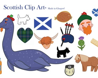 Scotland Clipart- Scottish clip art- loch ness monster- bagpipes- digital download- scottish shortbread- UK- United Kingdom- highland cow