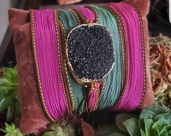 Druzy agate silk handpainted wrapbracelet
