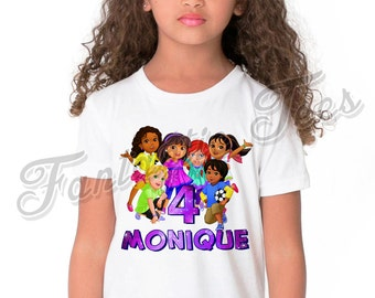 Dora and Friends Birthday Shirt Add Name & Age Dora The Explorer Custom Birthday Party TShirt A