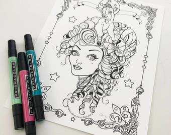 Lamb Girl Instant Download Coloring Page Pocket Full of Posiez