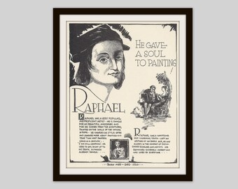 Raphael, Vintage Art Print, Classroom Art, Art Teacher Gift, Educational Art, Famous Artist, Art Student Gift, Artist Gift, Classic Art
