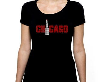 Chicago RHINESTONE Sears Willis Tower t-shirt tank top  - S M L XL 2XL - Bling Windy City Illinois