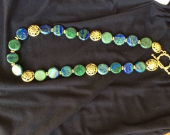 Azurite and pewter necklace