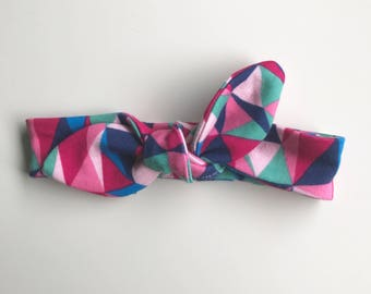 Baby/toddler tie knot headband- multi colored geometric
