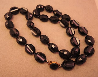 Black Faceted Plastic Bead Necklace 1950s