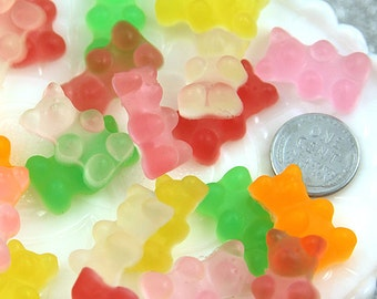 23mm Squishy Fake Gummy Bears Cabochons -  Regular Size - for your faux food craft ideas - 6 pc set