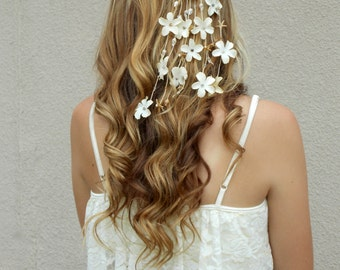 Starfish beach wedding hair accessory, fashion bridal headband, botanical hair vine, bohemian summer hair flowers, ivory daisy headband