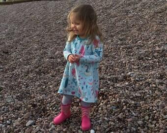 Organic Long Sleeve Mermaid Dress - Toddlers Clothes, Organic, Dress, Mermaid, Girls Dress, Girls Mermaid Dress