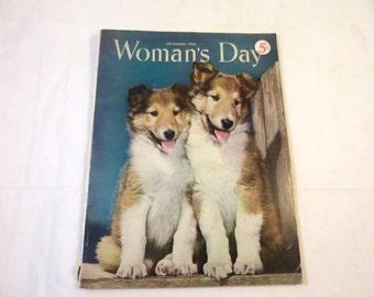 Vintage Woman's Day Magazine September 1950 Retro Birthday Gift Vintage Magazine Mid Century Advertising Fashions Crafts Puppy Cover