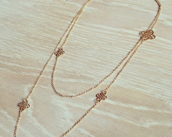 Gold Necklace Layered Necklace Double Necklace Long Necklace Romantic Jewelry Vintage Style Necklace Floral Pendant Multi Layer Necklace