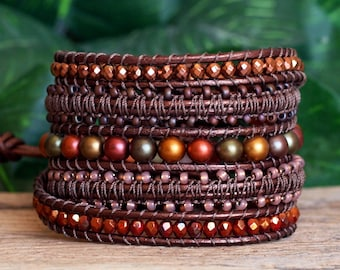 Beaded Leather and Macrame Wrap Bracelet, Brown and Bronze Modern Bohemian Macrame Leather Jewelry