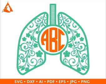 Lungs Svg Flowery Lung Svg Monogram Frame Svg Pulmonologist Doctor Nurse Respiratory Therapist Initial Border cut file for Cricut Silhouette