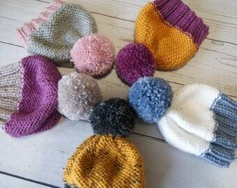 Knit Baby Hat, Baby Girl Hat, Baby Boy Hat, Knit Beanie Hat, Beanie Baby, Beanie with Pom Pom, Knit Baby Beanie, Pom Pom Beanie, Pom Pom Hat
