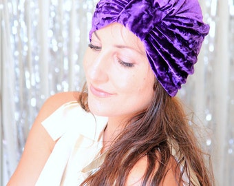 Turban Hat in Purple Eggplant Crushed Velvet - Fashion Hair Wrap - Lots of Colors