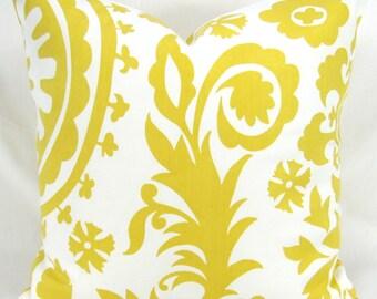 Yellow Throw Pillow, Decorative Cushion, Accent Pillow, Euro Sham -MANY SIZES- Suzani Corn Yellow & White Twill, Premier Prints