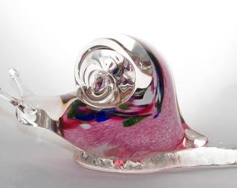 Blown Glass Pink Snail Figurine