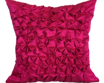 Hot Pink Throw Pillow Cover, Textured Pillow Cover, Minimalist Pillow, FLORAL SMOCKING Pillow Cover