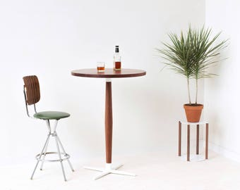 Side Show Cocktail Table - Mid-Century Modern Tall Round Pedestal Pub Table