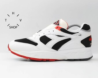 NOS 90s Vintage Diadora Imperium Plus Double Action D.A. sneakers / Deadstock Trainers / Black White Red kicks hi tops / made in China