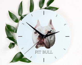 A clock with a American Pit Bull Terrier dog. A new collection with the geometric dog