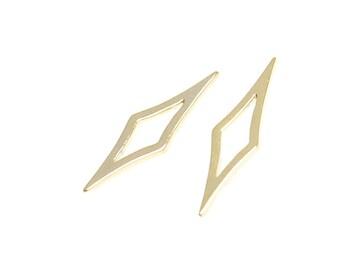 Sharp Diamond Shape Pendant / Charm / Gold Plated Brass / 2pcs / cp06006
