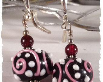 Cranberry Swirls Sterling Earrings--Garnets and Lampwork--January Birthstone