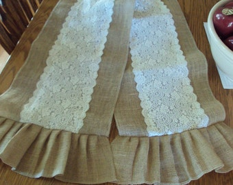 90 inch ruffles Burlap Table Runner -  Natural burlap with Beautiful wide antique/ivory lace Trim