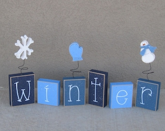 WINTER BLOCK SET for shelf, mantle, office, seasons, home, and holiday decor.