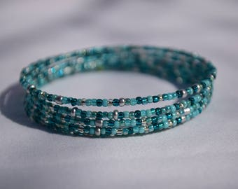 Boho chic turquoise/silver seed beads memory wire bracelet