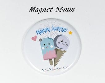 Round magnet ice kawaii happy summer 58 mm