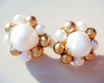 Vintage White and Gold Colored Pearl Earrings Clip on