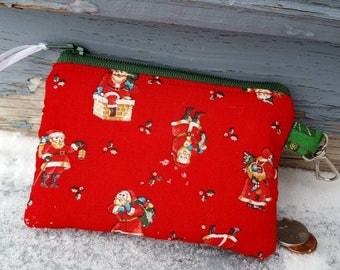 Christmas Coin Purse, Santa Zipper Wallet, Ear Bud Pouch, Stocking stuffer, Santa Change Purse