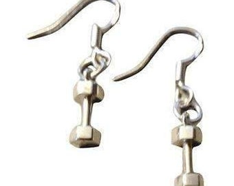 Sterling Silver Dumbbell Earrings, Fitness Jewelry, Earrings, Fitness Gifts, Fitness, Crossfit, Crossfit Gifts, Bodybuilding Gifts