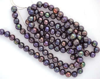 7mm to 8mm Cultured Freshwater Round Potato Pearls . Peacock Blue, full strand, 56 beads, gpe0004