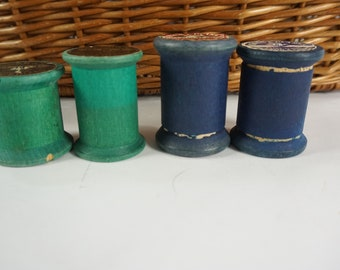 Vintage Empty Wooden Thread Spools, Coats & Clarks, Clarks, ONT, Stained Blue Green Sewing Spools, Vintage Craft Spools, Free Ship
