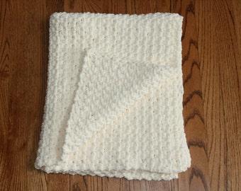 Crochet Baby Blanket! Extra Soft Handmade! Ivory/Cream