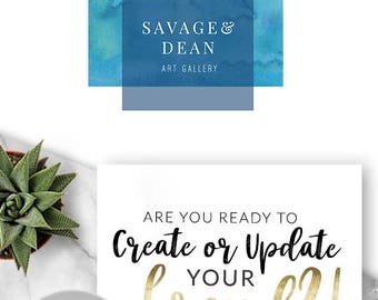 LOGO, Premade Logo Design, Branding, Blog Header, Blog, Business, Boutique, Ocean, Beach, Modern, Jewellery, Brand, Watercolour, Waves, 210