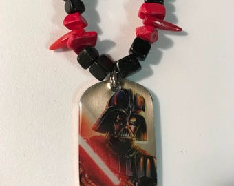 Star Wars Inspired Darth Vader Necklace - dog tag style charm - FREE Domestic SHIPPING!