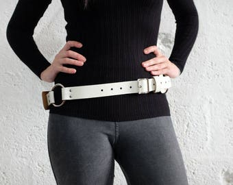 Unisex Leather Belt - White Cracked  - bushcraft - steampunk - burning man - mad max - apocalypse, Please read Description for size