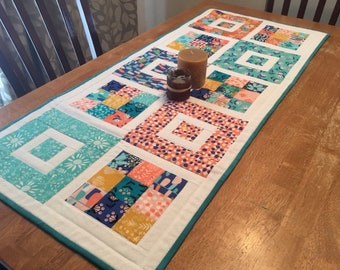 Bright Modern Squares Floral Table Runner