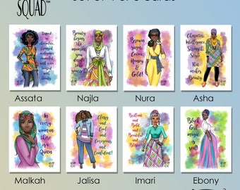 Melanin Squad Greeting Cards, A7, Card Sets, Black Greeting cards