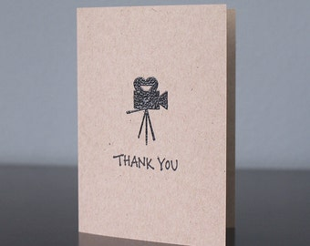 Handmade Vintage Movie Camera Thank You Card
