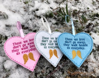 Memory hanging decoration, heart decoration, pink blue white heart,
