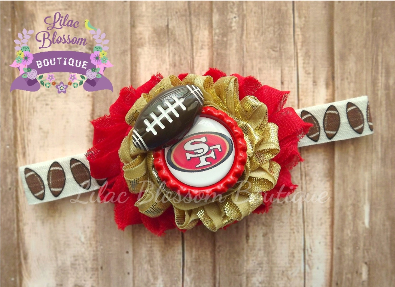 San Francisco 49ers Baby Headband Forty Niners Infant Bow SF