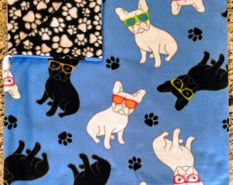 French Bulldog and Paw Print Fleece Blanket - Mother's Day gift for Frenchie lovers!