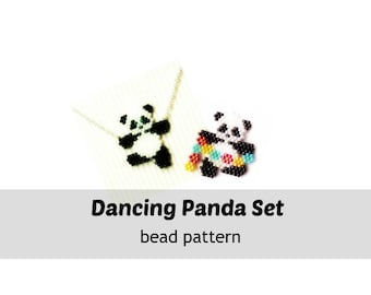 Beading Patterns - Dancing Panda Set, Brick Stitch Bead Weaving